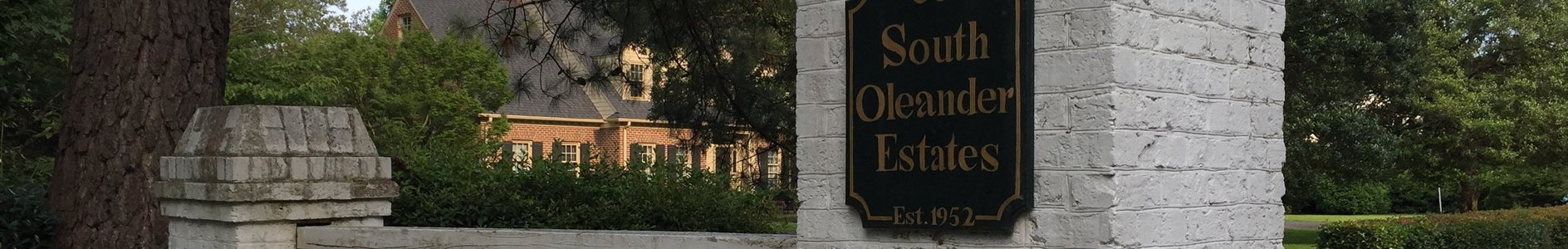 Sign at the entrance to South Oleander Estates in Wilmington, NC